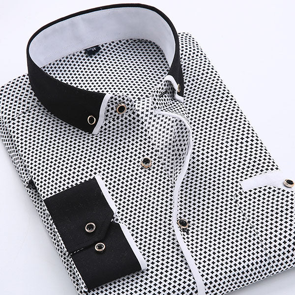 Casual Business Printing Long-sleeved Men's Shirt - KINGEOUS