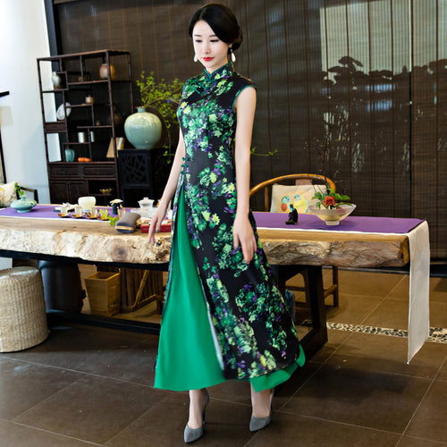 Charming Flowers Printed Cap Sleeve Slim Ao Dai - KINGEOUS