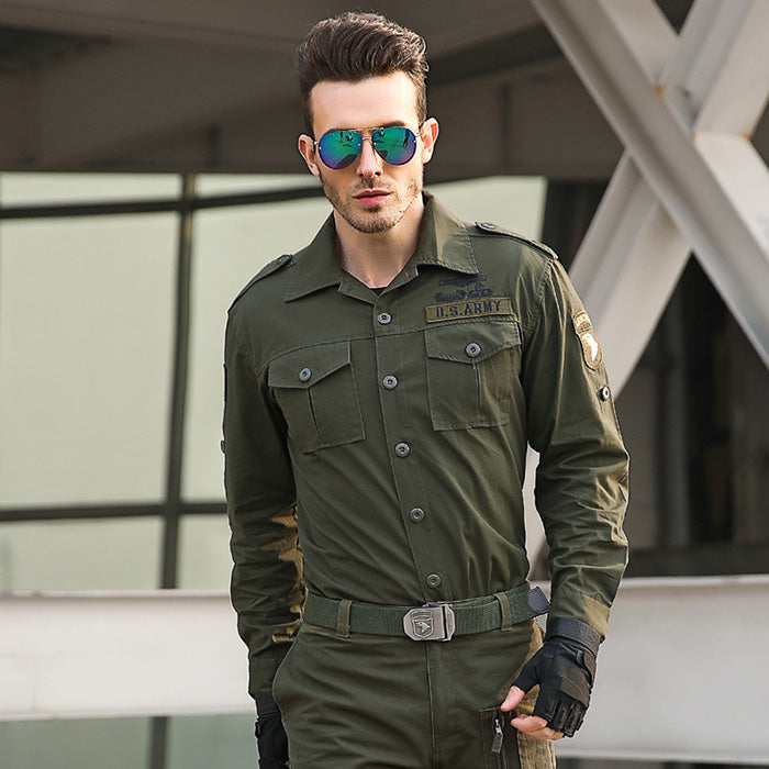 Leisure Lapel Military Style Loose Long Sleeve Men's Shirt