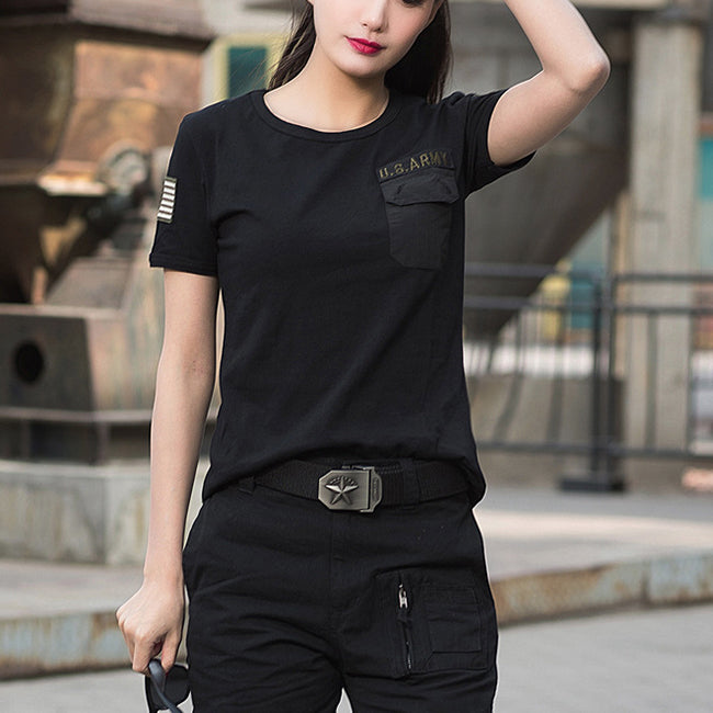 Outdoor Round Neck Short Sleeve Women T-shirt