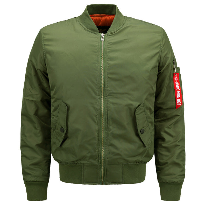 Solid Color Stand Collar Thicken Men's Flight Jacket Overcoat