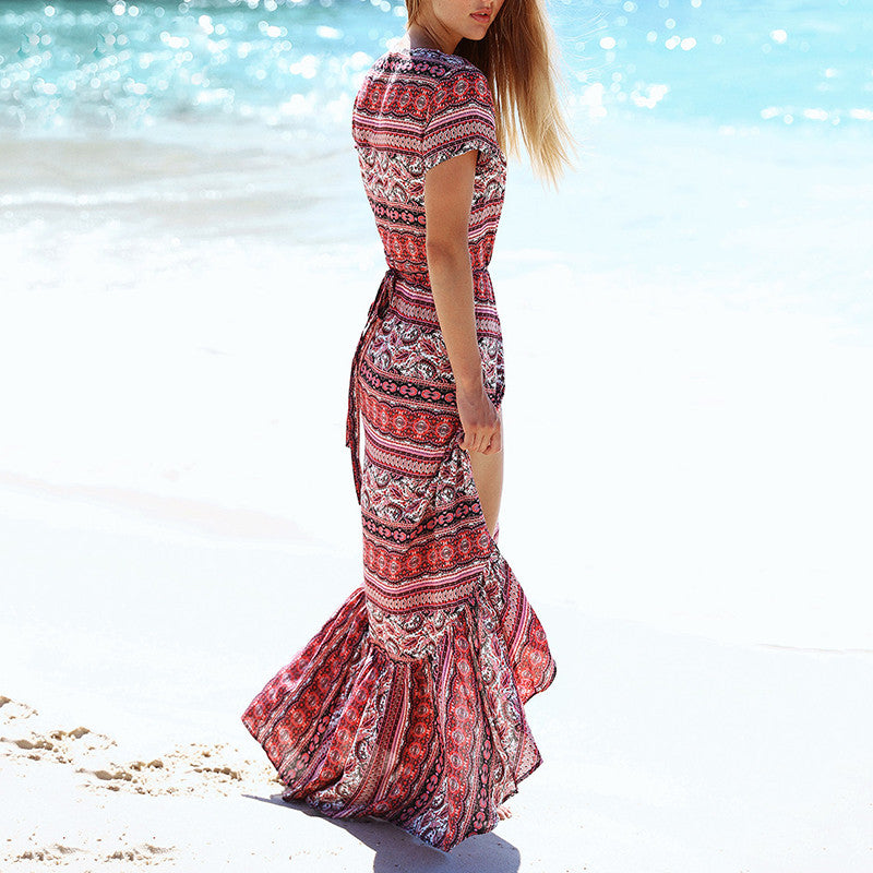Chic Boho Pattern Printed V-neck Slim Beach Maxi Dress - KINGEOUS