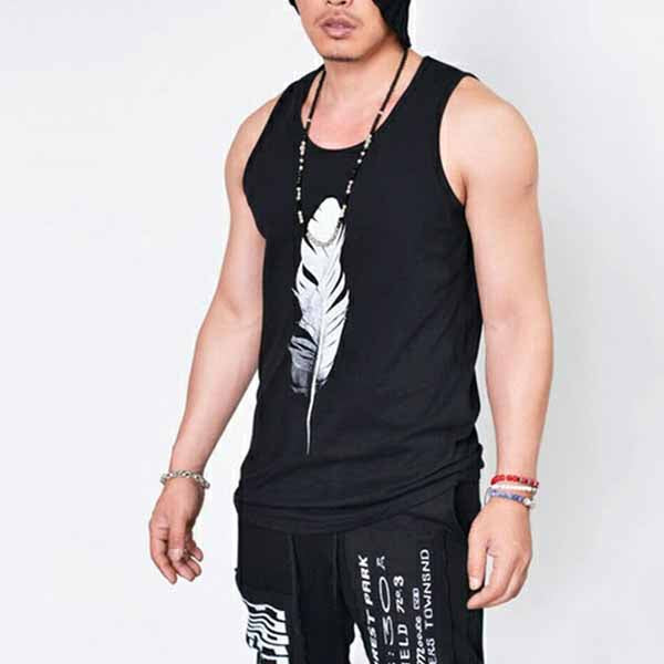 Solid Color Feather Print Sleeveless Men's T-shirt