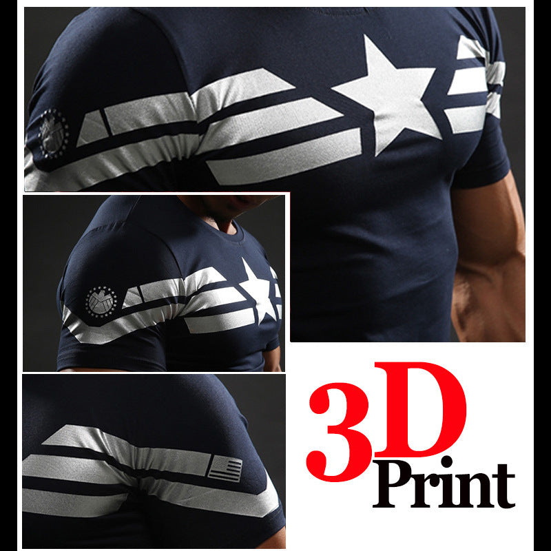 Captain America Fast Drying Elastic Sport  Men's T-shirt - KINGEOUS