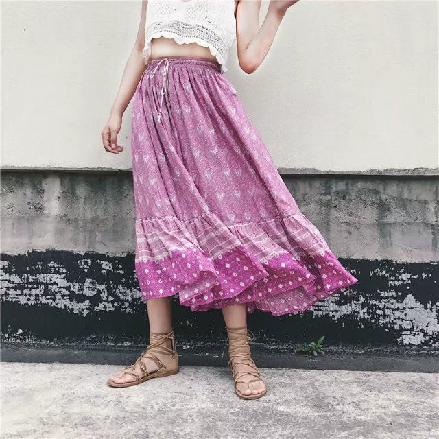 Sweet Printed Split Joint Slim Bohemia Women's Skirt