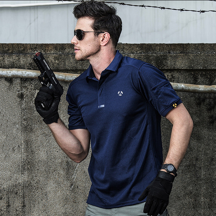 Lapel Quick-Drying Sport Outdoor Men's Tactical T-shirt