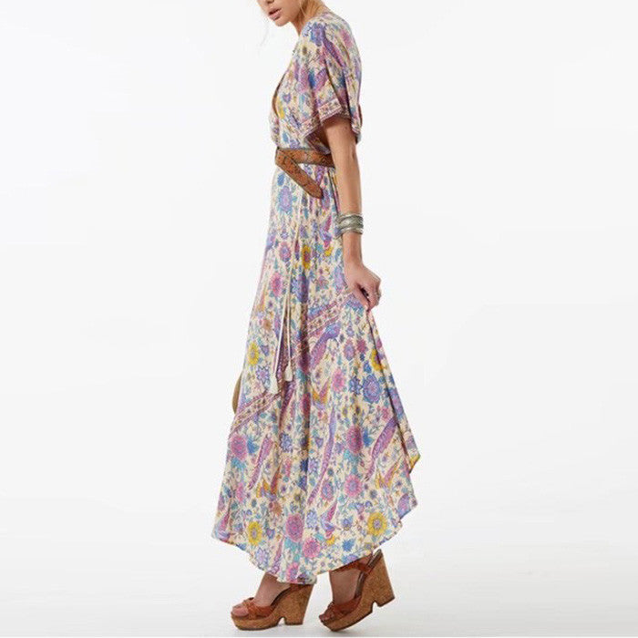 Beauty Flowers Printed Deep V-neck Holiday Beach Maxi Dress - KINGEOUS
