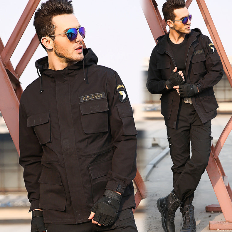 Casual Army Style Fleece Hooded Men Outdoor Jacket - KINGEOUS