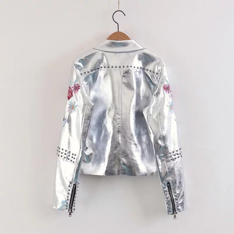 Fashion Embroidery Faux Leather Lapel Jacket - KINGEOUS
