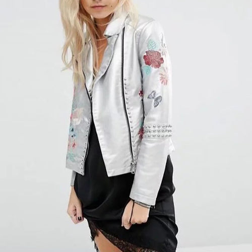 Fashion Embroidery Faux Leather Lapel Jacket