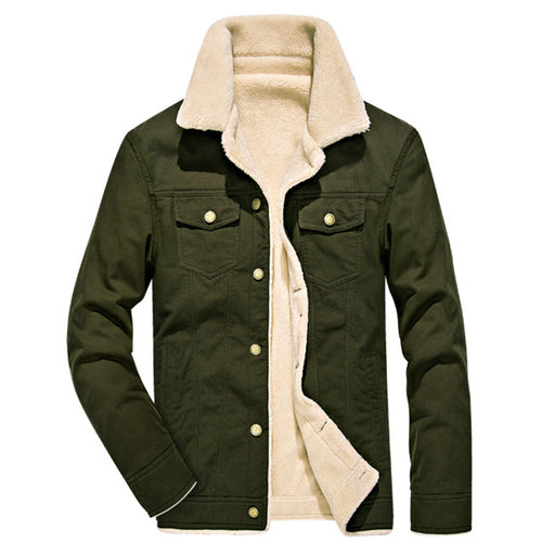 Leisure Outdoor Thicken Standing Collar Washed Men's Jacket