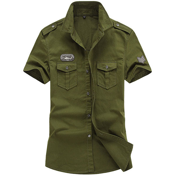 Solid Color Military Style Short-sleeve Men's T-shirt