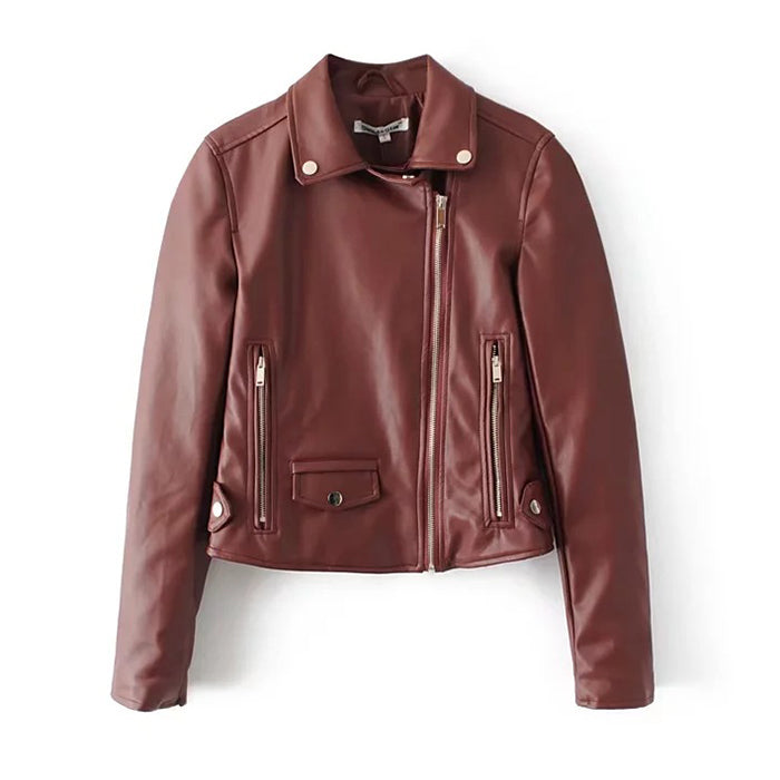 Punk Faux Leather Lapel Haulage Motor Jacket