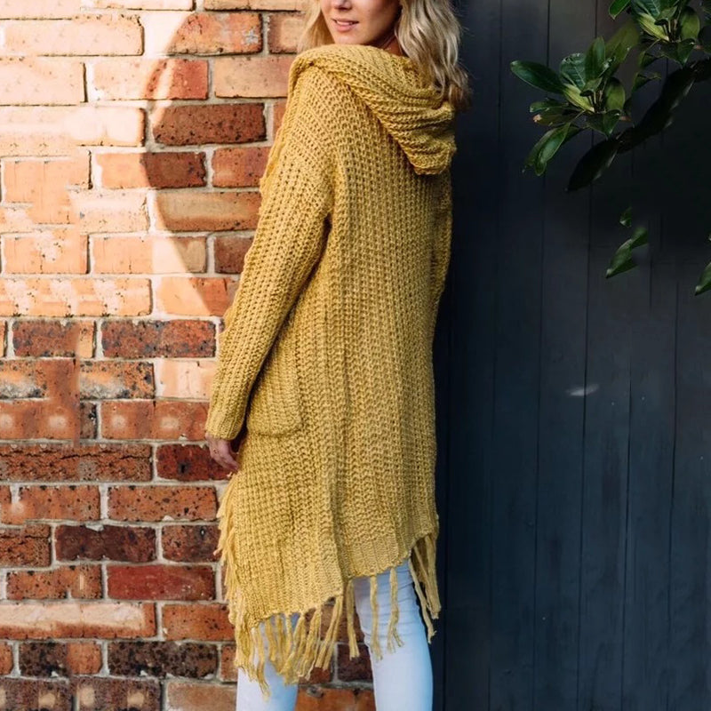 Casual Knit Hoodied Yellow Women's Cardigan with Tassel - KINGEOUS