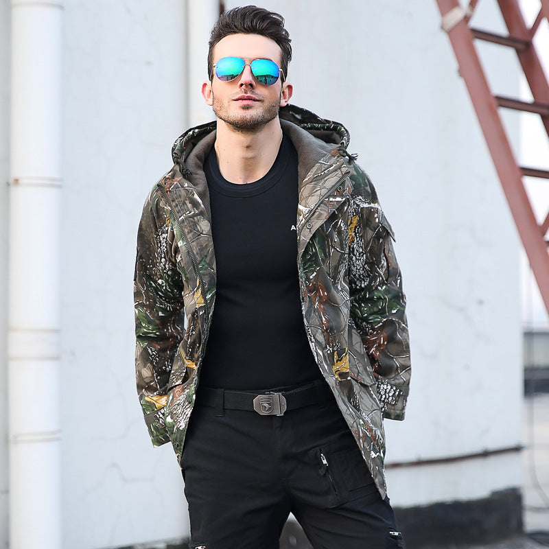 Camouflage Fleece Hooded Thicken Men Outdoor Jacket - KINGEOUS