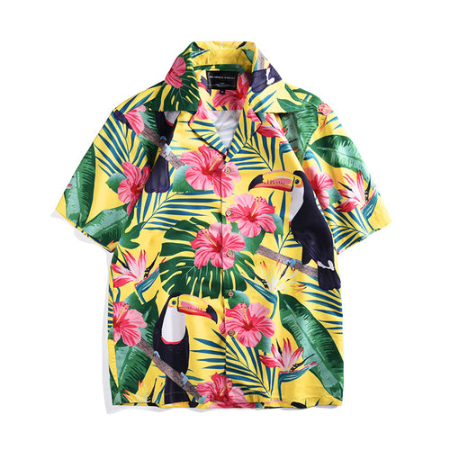 Giant Beak Bird Printed Tropical Style Short Sleeve Holiday Men Shirt