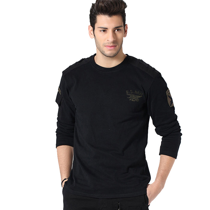 New Leisure Loose Military Style Long Sleeve Men's T-shirt