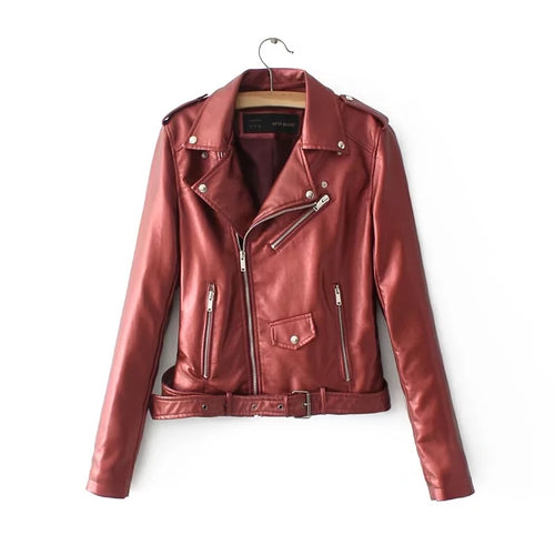 Cool Lapel Haulage Motor Faux Leather Jacket with Belt - KINGEOUS