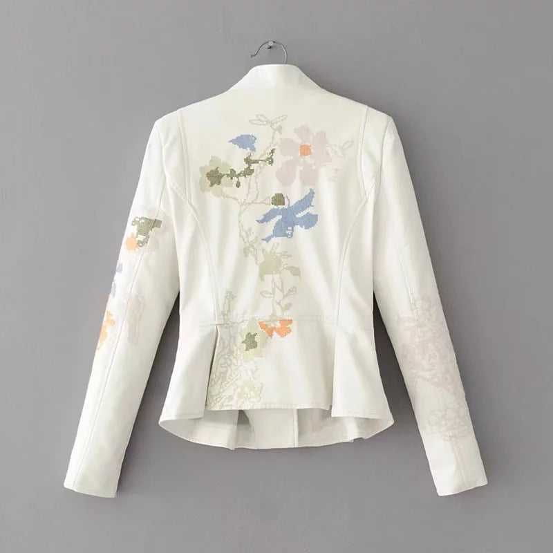 Faux Leather Lapel Embroidery Zipper Jacket with Belt