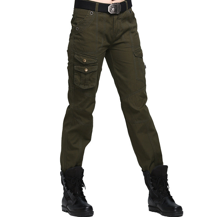 Army Casual Multi-pocket Women's Cargo Pants - KINGEOUS