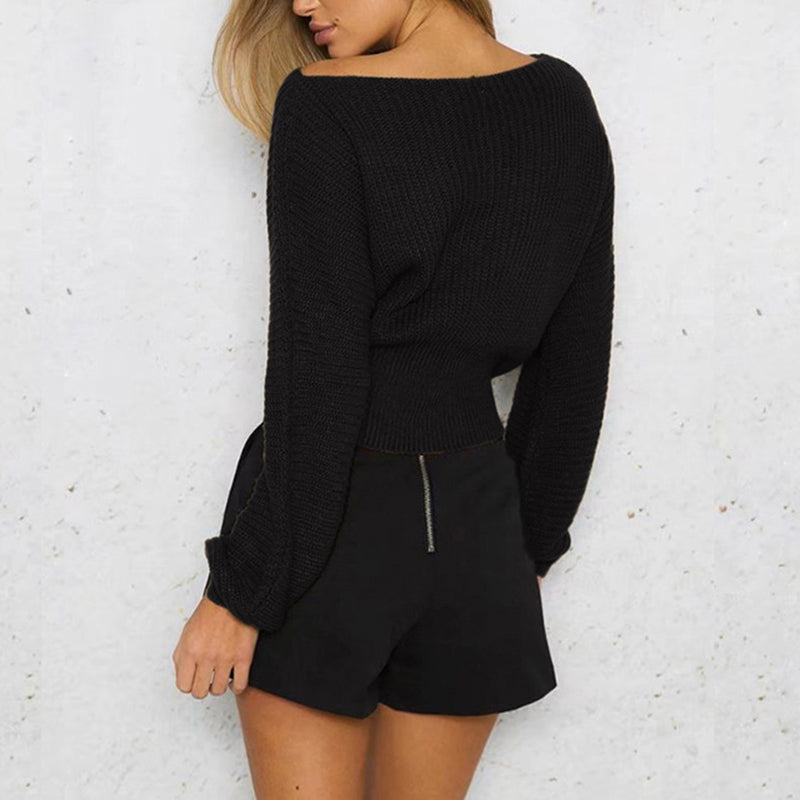Solid Color Bandage Long Sleeve Slim Knit Sweater