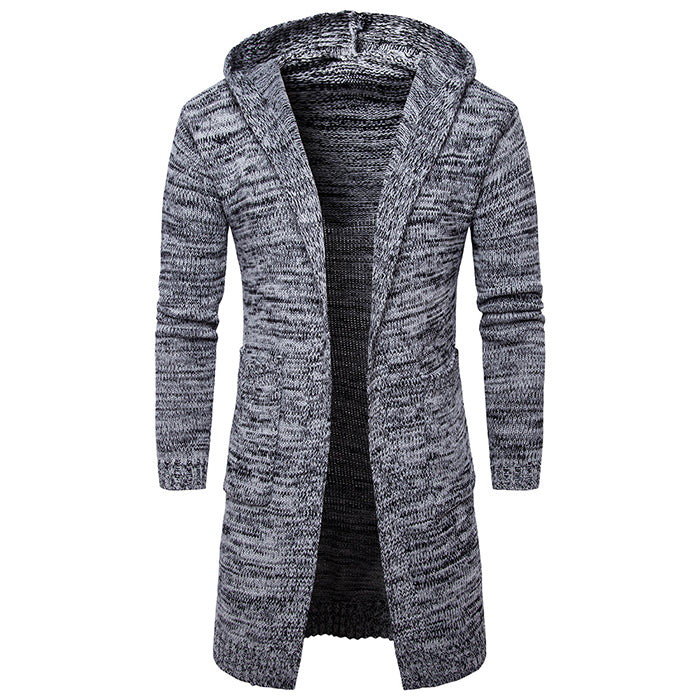 Long Style Knitted Hooded Thicken Men's Cardigan
