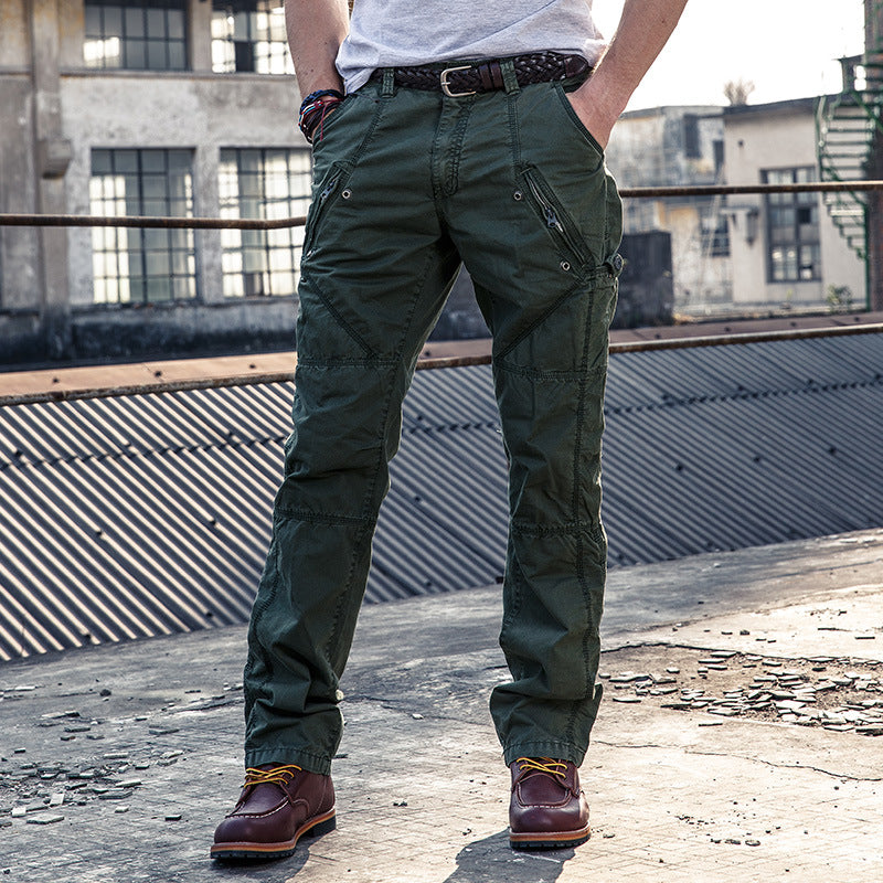 Cool Casual Solid Color Zipper Men's Cargo Pants - KINGEOUS