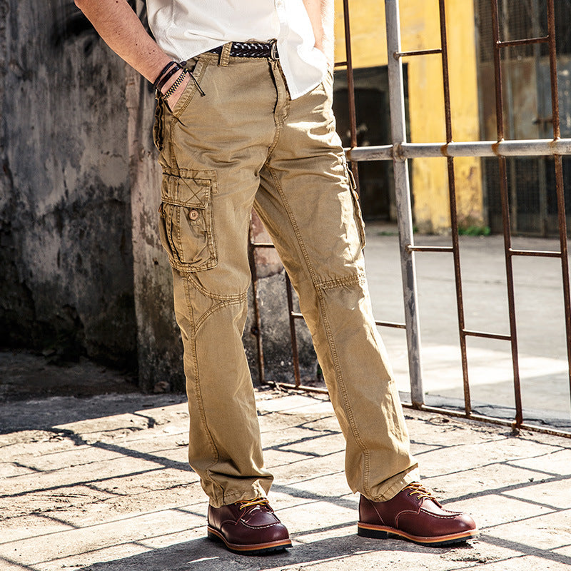 Solid Color Cotton Pocket Men's Cargo Pants