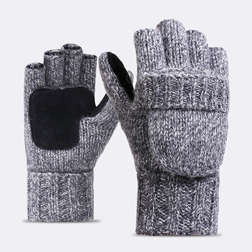 Wool Knitted Half Finger Flip Thicken Warm Gloves