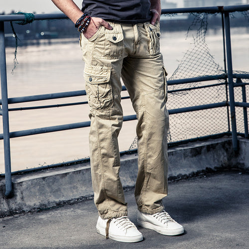 Fashion Pocket Cotton Solid Color Men's Pants