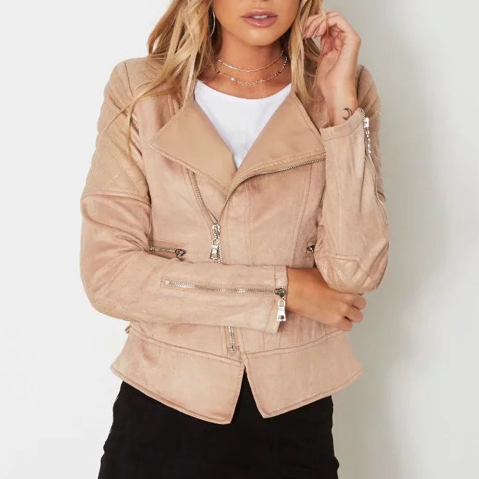 Lapel Split Joint Slim Zipper Faux Leather Jacket