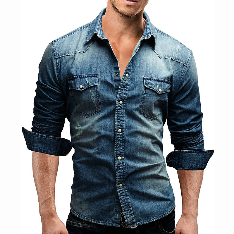 Casual Denim Long Sleeve Men's Shirt - KINGEOUS