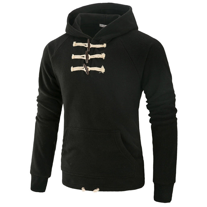 Leisure Hooded Chest Button Design Men's Hoodie