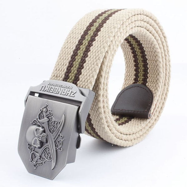 Double-knife Skull Stripe Canvas Belt - KINGEOUS