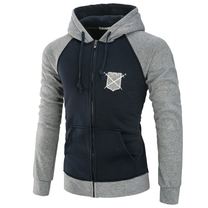 Shield Embroidery Color Matching Men's Hoodie