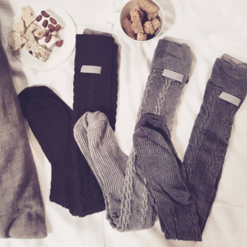 Solid Color Slim Handmade Knit Hollow Women's Knee Socks
