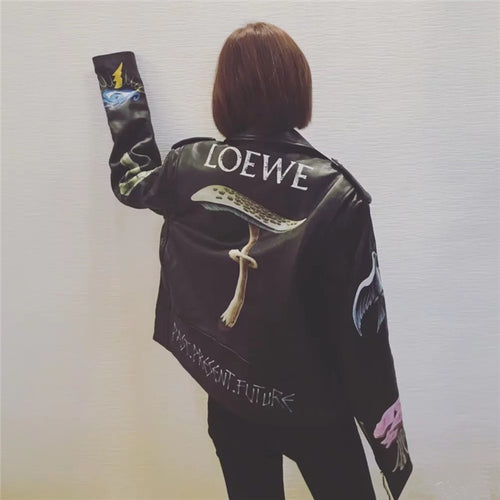 Fashion Punk Printed Lapel Zipper Long Sleeve Jacket