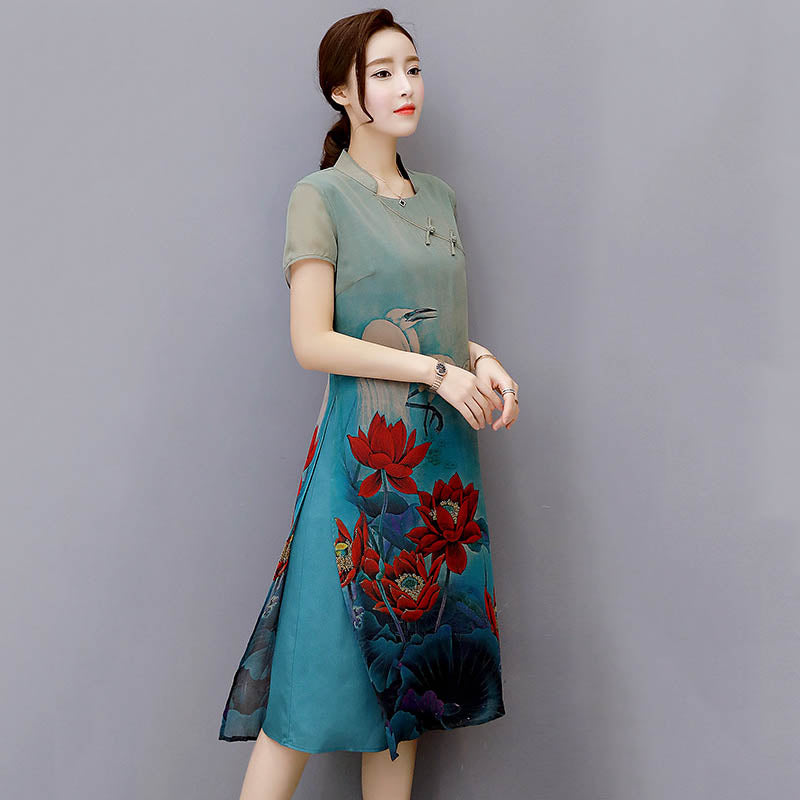 Amazing Traditional Silk Printed Cheongsam Dress - KINGEOUS