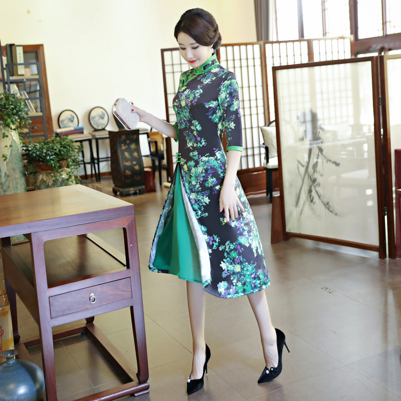 Charming Printed Three Quarter Sleeve Slim Ao Dai - KINGEOUS