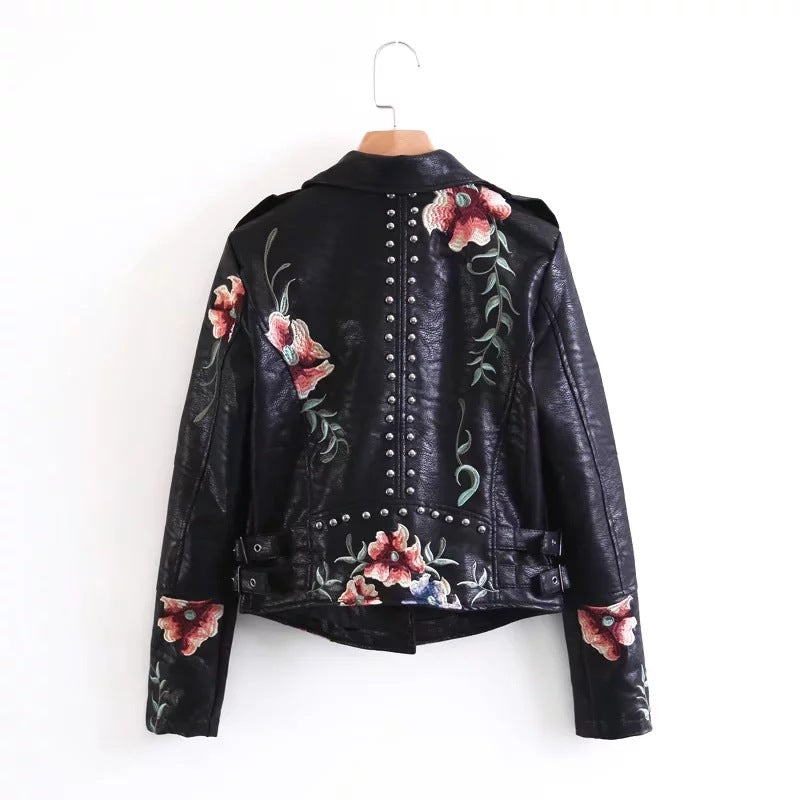High Quality Lapel Embroidery Rivet Long Sleeve Jacket