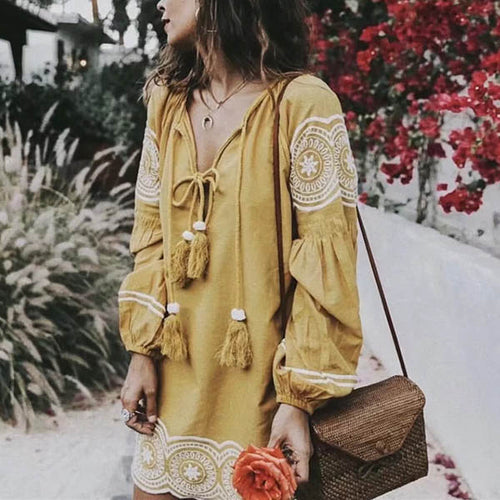 Tradition Embroidery Cotton Yellow Tassel Women's Short Dress