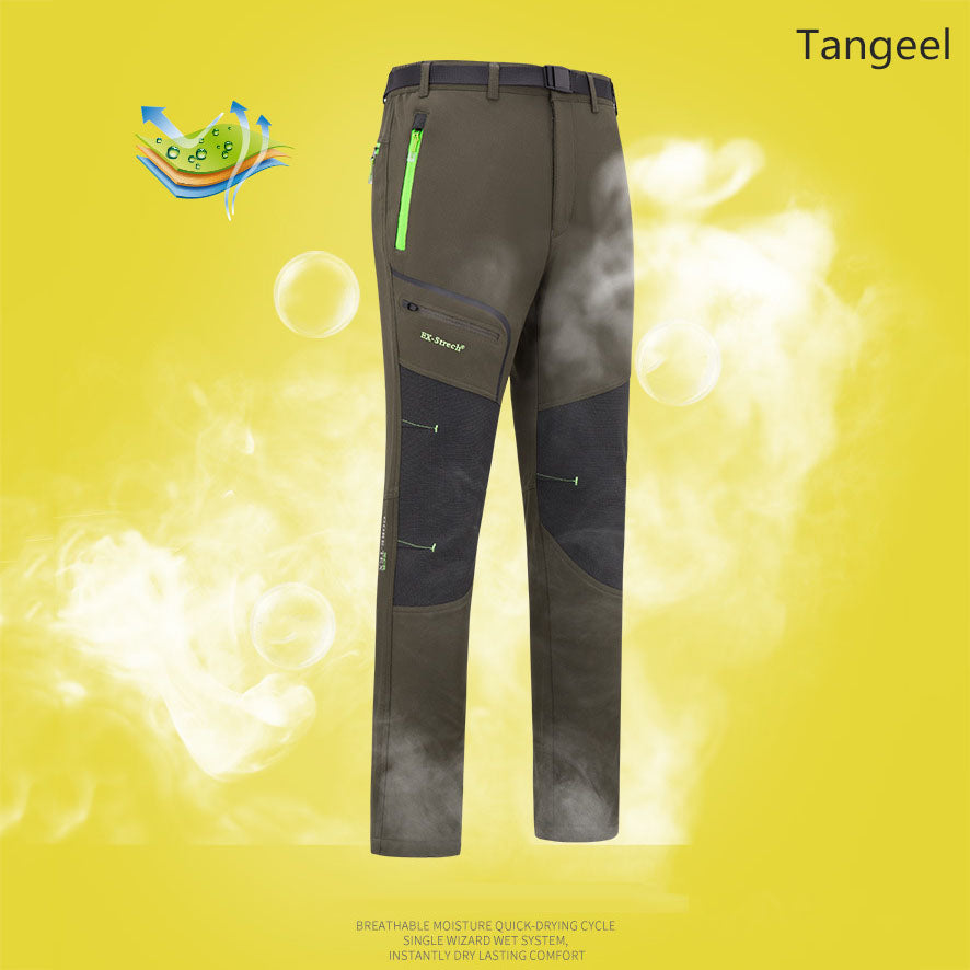 Thicken Warm Quick Drying Hiking Elastic Fleece Men and Women Pants