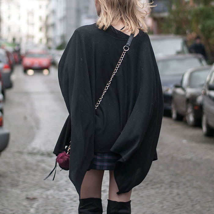 Fashion Simple Irregular Hem Black Women Cape