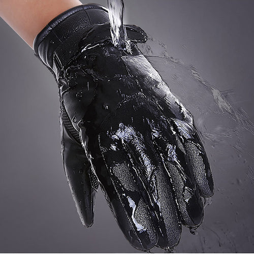 PU Leather Waterproof  Non-slip Warm Riding Gloves
