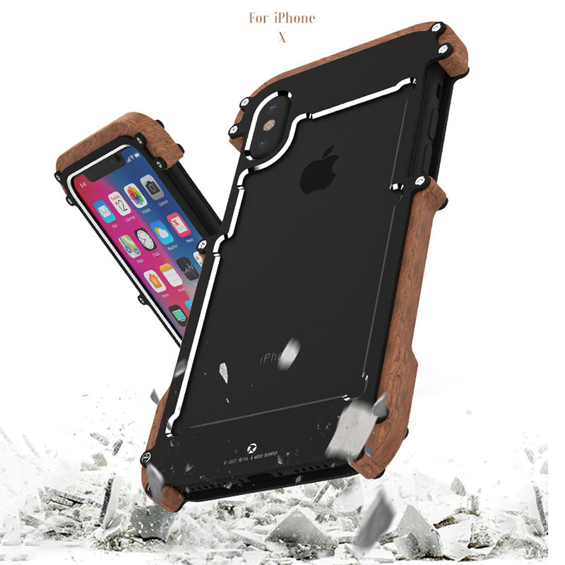 Metal and Wood Three Layered Protection Phone Case for iPhone X