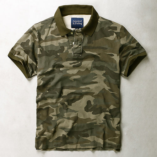 Loose Camo Breathable Sweatshirt Lapel Men T-Shirt