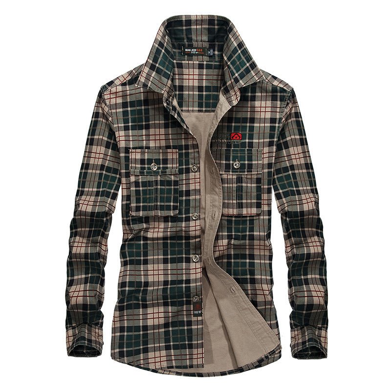 Casual Outdoor Plaid Long Sleeve Cotton Men's Shirt