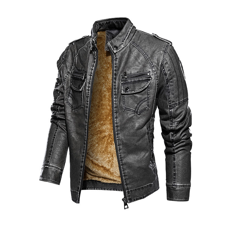 Fashion Retro Motorcycle Thick  Men's Leather Jacket