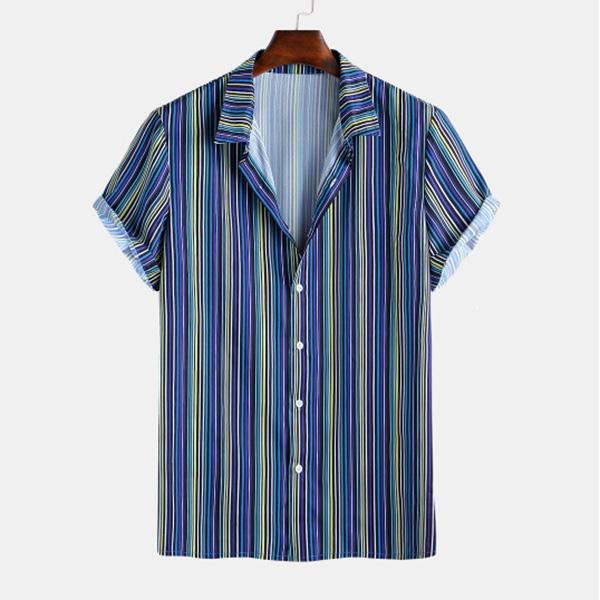 Summer Stripes Printed Turndown Collar Holiday Men's Shirt