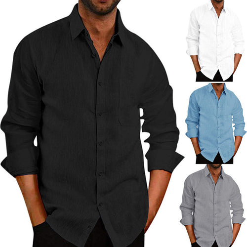 Simplicity Lapel Solid Color Men's Linen Shirts